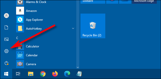 """In the Windows 10 Start Menu, click the """"gear"""" icon to open Settings."""