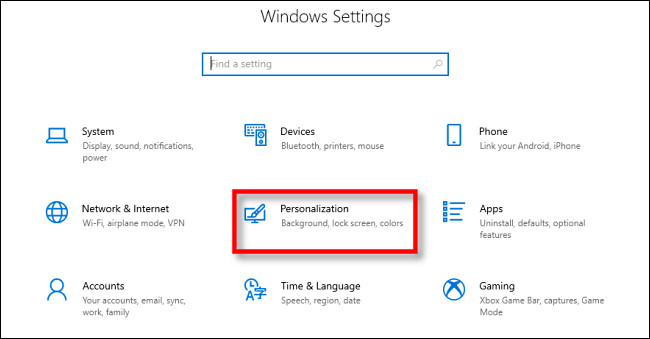 "In Windows 10 Settings, click ""Personalization."""